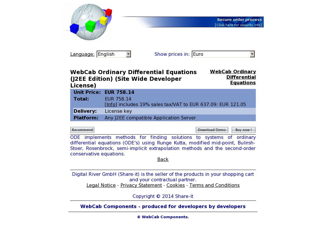 WebCab Ordinary Differential Equations (J2EE Edition) (Site Wide Developer License)