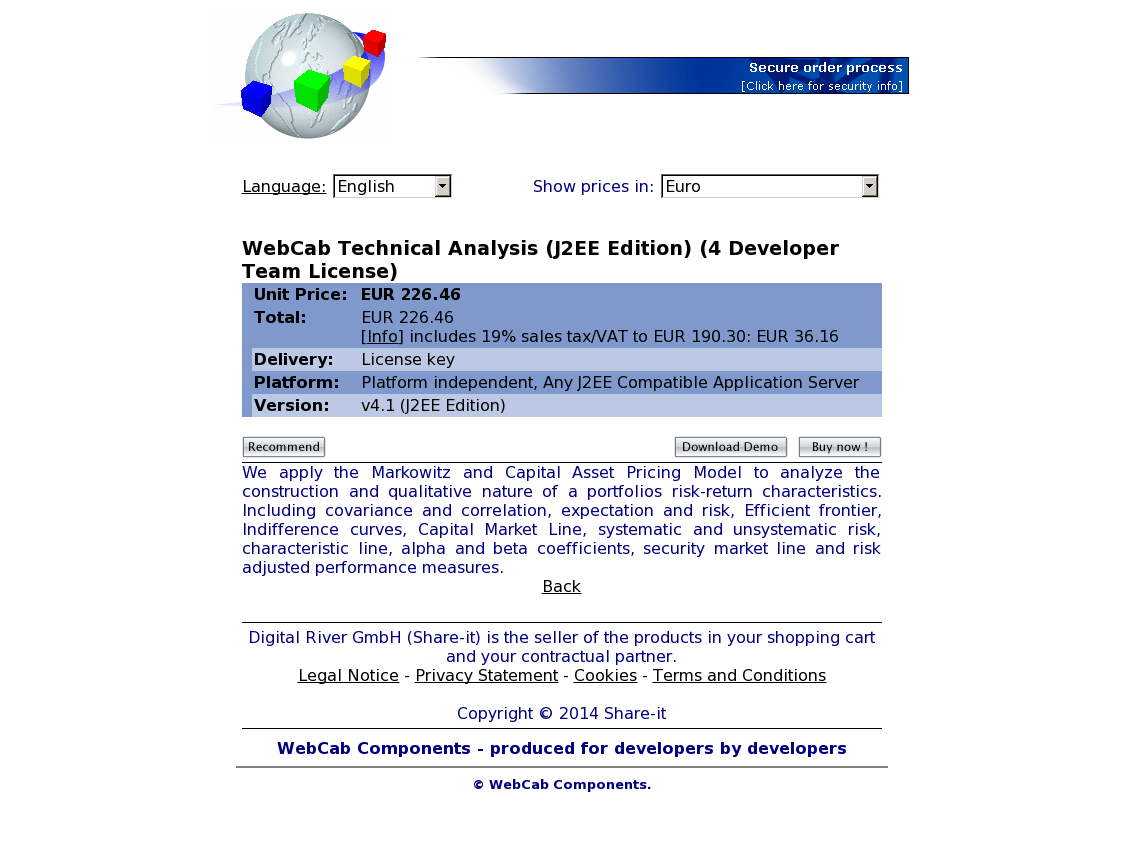 WebCab Technical Analysis (J2EE Edition) (4 Developer Team License)