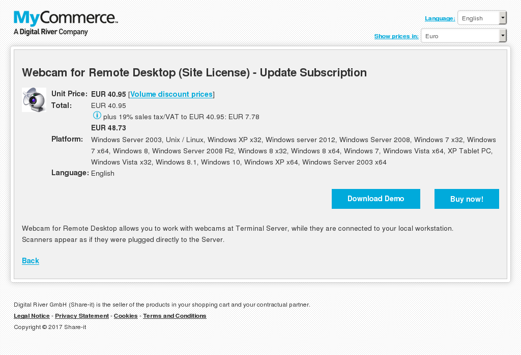 Webcam for Remote Desktop (Site License) - Update Subscription