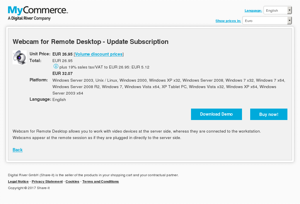 Webcam for Remote Desktop - Update Subscription