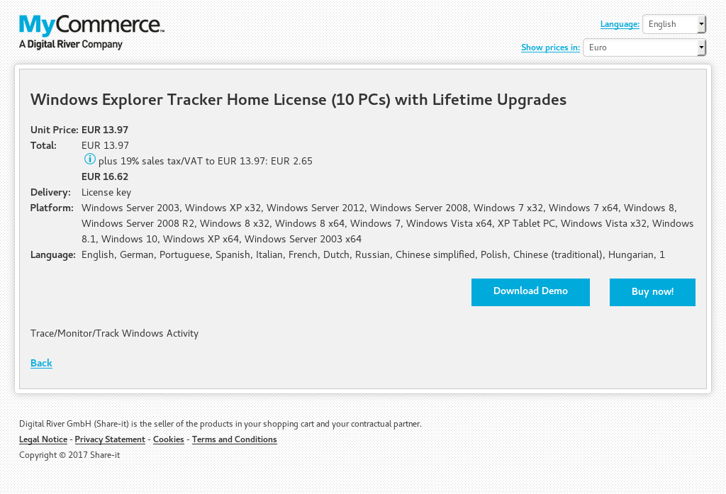 Windows Explorer Tracker Home License (10 PCs) with Lifetime Upgrades