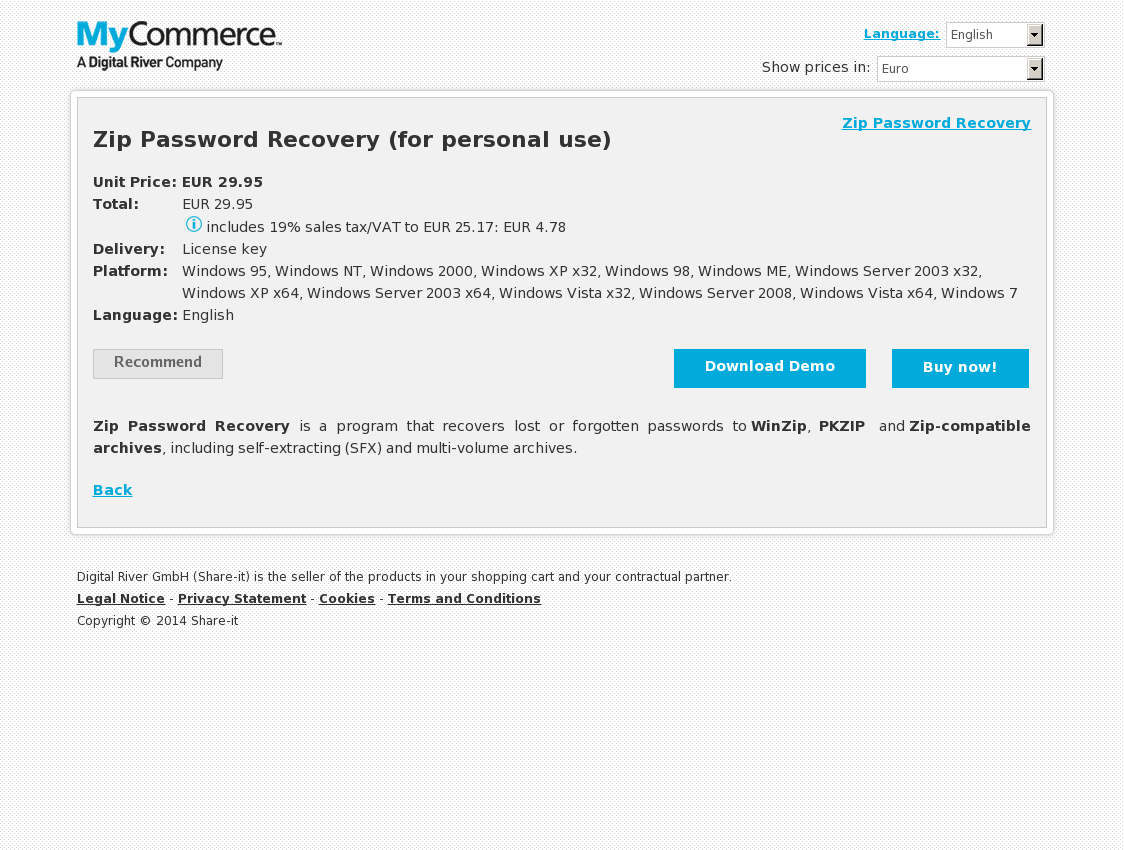 Zip Password Recovery (for personal use)