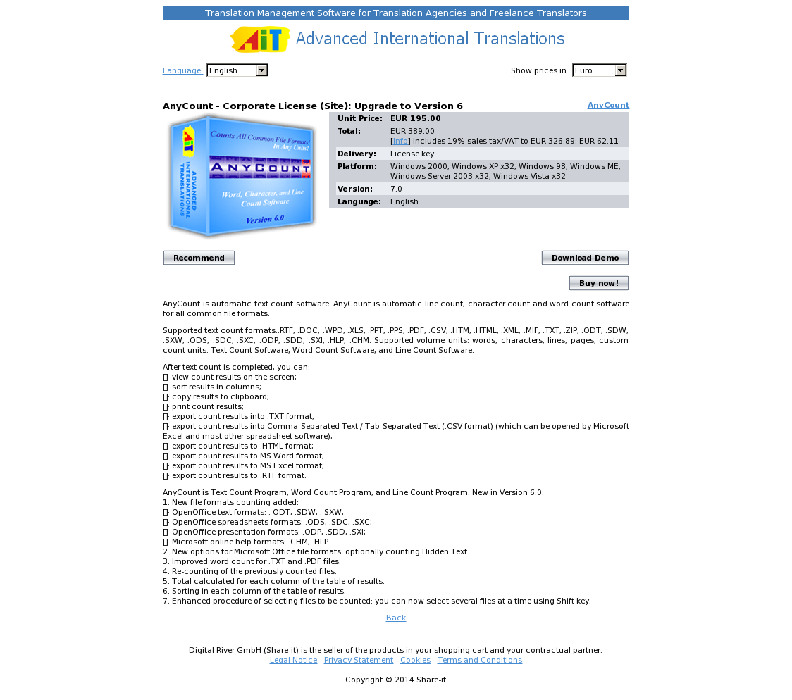 AnyCount - Corporate License (Site): Upgrade to Version 6