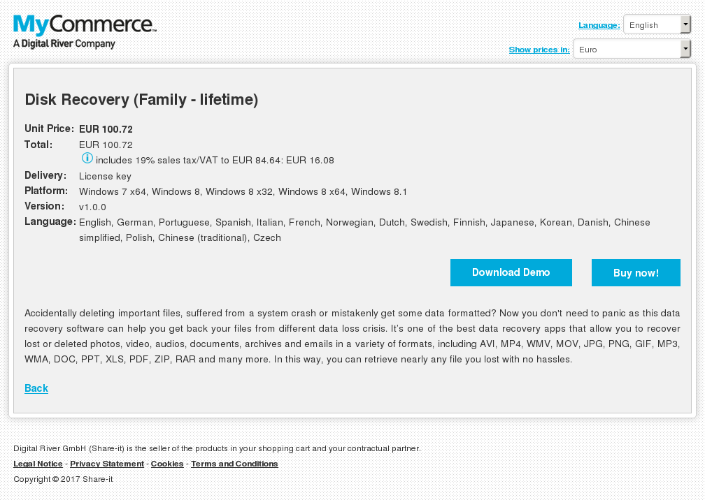 Disk Recovery (Family - lifetime)