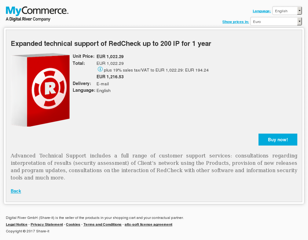 Expanded technical support of RedCheck up to 200 IP for 1 year