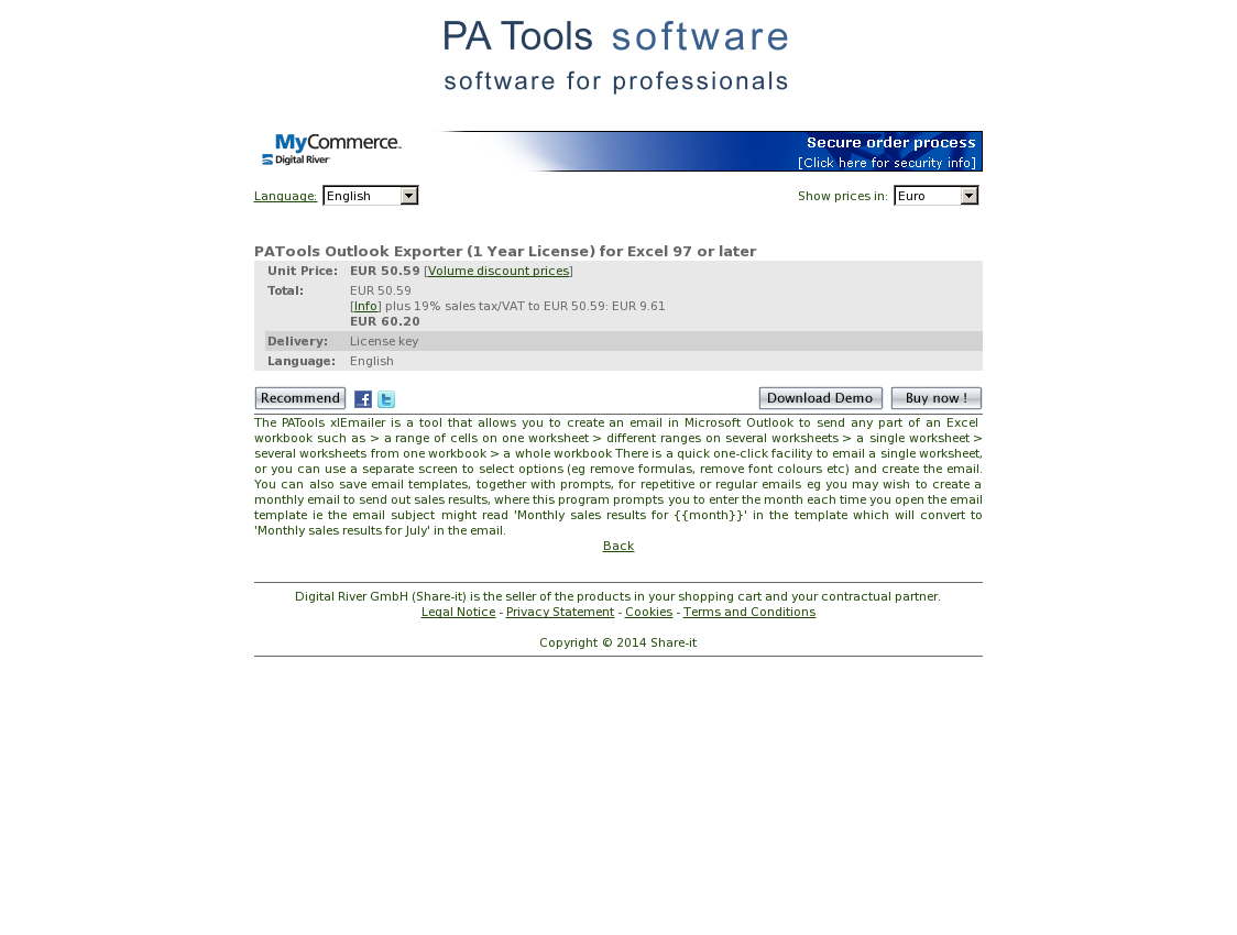 PATools Outlook Exporter (1 Year License) for Excel 97 or later