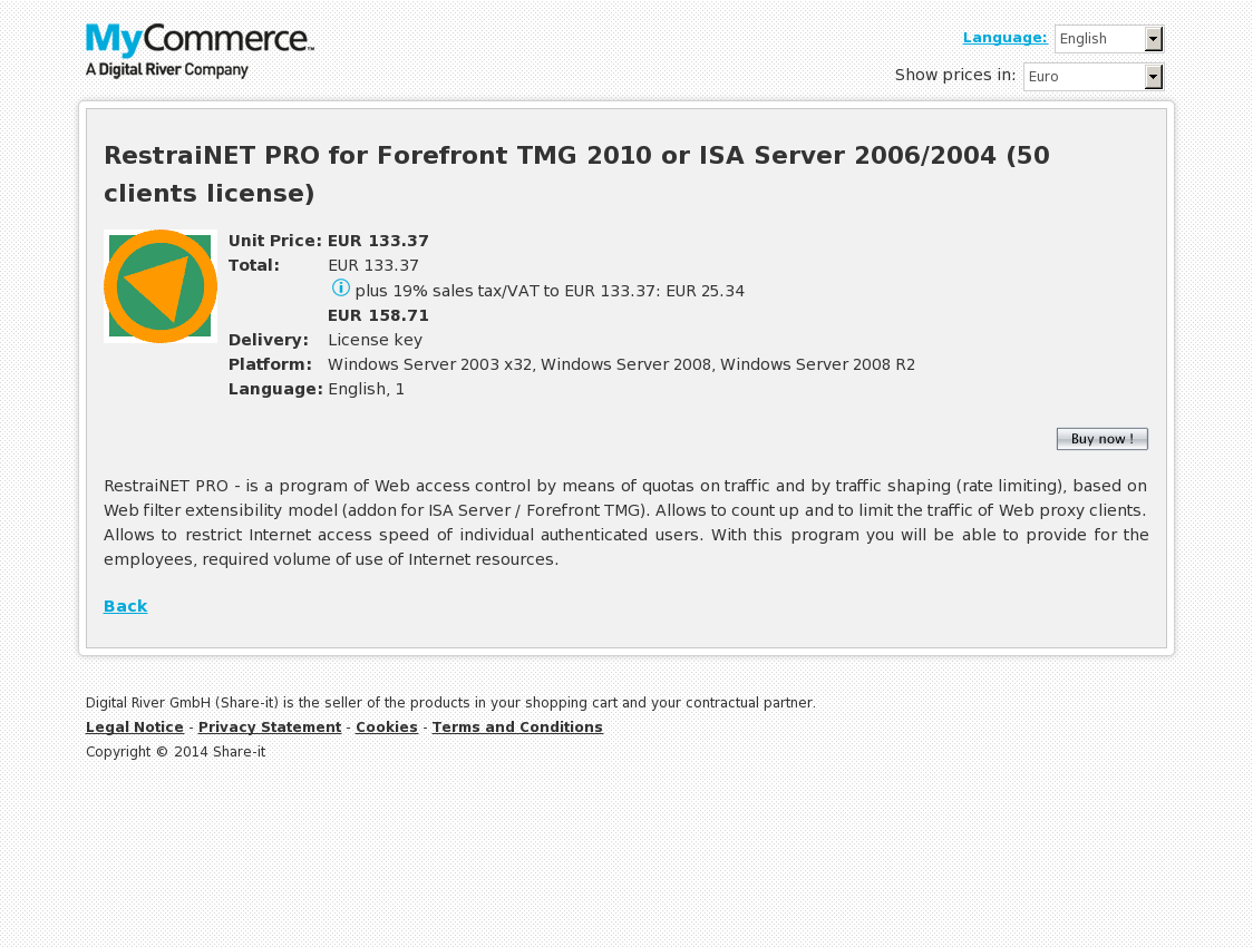 RestraiNET PRO for Forefront TMG 2010 or ISA Server 2006/2004 (50 clients license)
