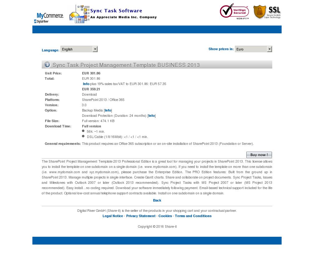 Sync Task Project Management Template BUSINESS 2013