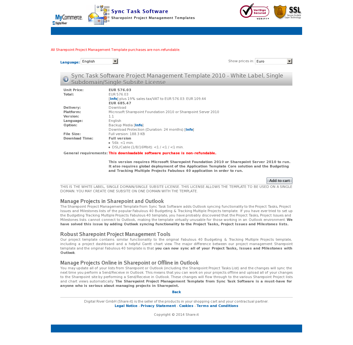Sync Task Software Project Management Template 2010 - White Label, Single Subdomain/Single Subsite License