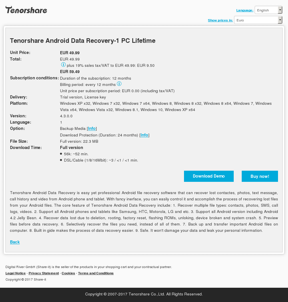 Tenorshare Android Data Recovery-1 PC Lifetime